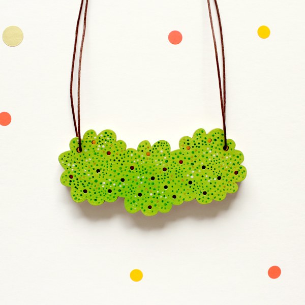 green grass puff necklace