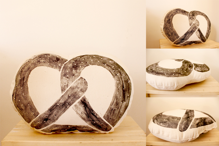 Pretzel-shaped cushion by Whimsy Milieu